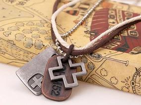 Colar Couro Genuíno Cruz Corda Vintage