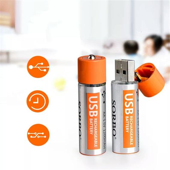 2 Pares De Pilha Recarregável Lipo Bateria 1.5v1200mah Sorbo