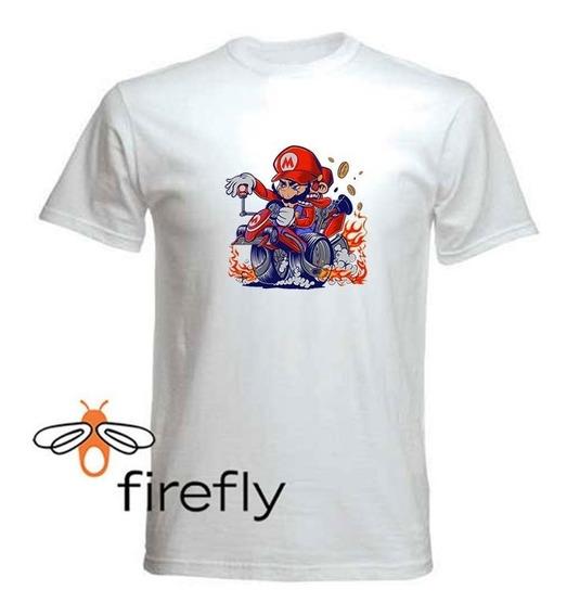 Remera Mario Bross Hombre Blanca Coleccion 2 Firefly