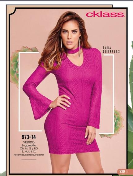 Vestido Rosa Tipo Encaje Cklass / Mundo Outlet