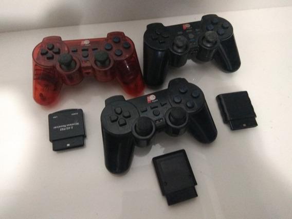 Sem Testes. Lote 3 Controle Sem Fio Ps2 Playstation 2 Wifi