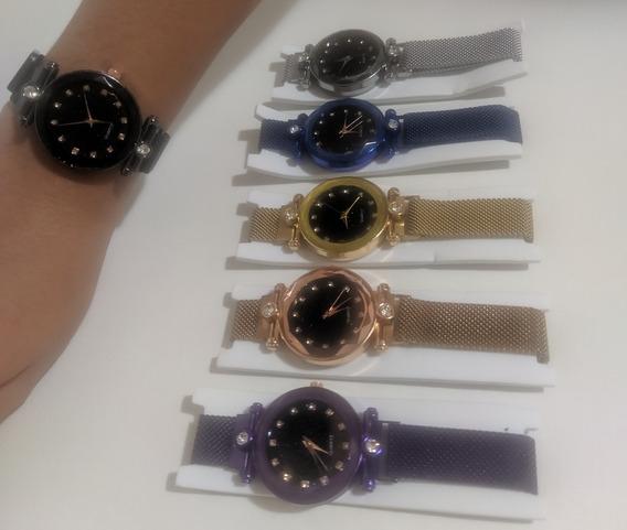 Kit Com 5 Relógios Feminino Magnético Céu Estrelado Atacado