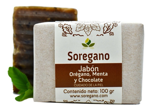 Sorégano Jabón Artesanal De Orégano, Menta Y Chocolate