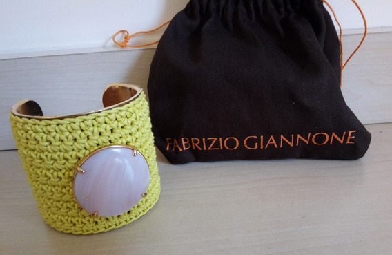 Bracelete Com Costura Trançada Verde - Fabrizio Giannone