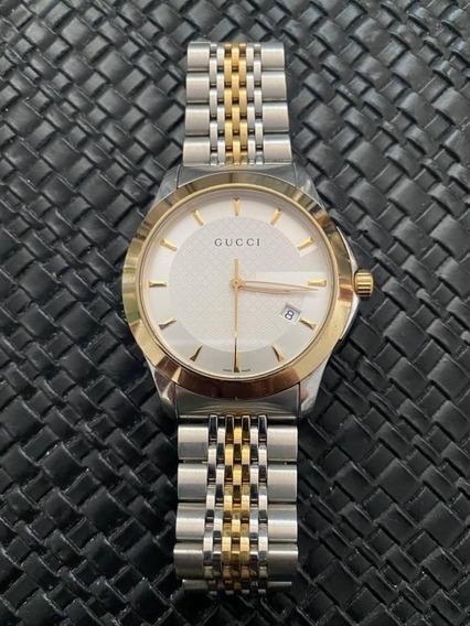 Relógio Feminino Gucci Social Slim Aço E Ouro Mod. 126.4