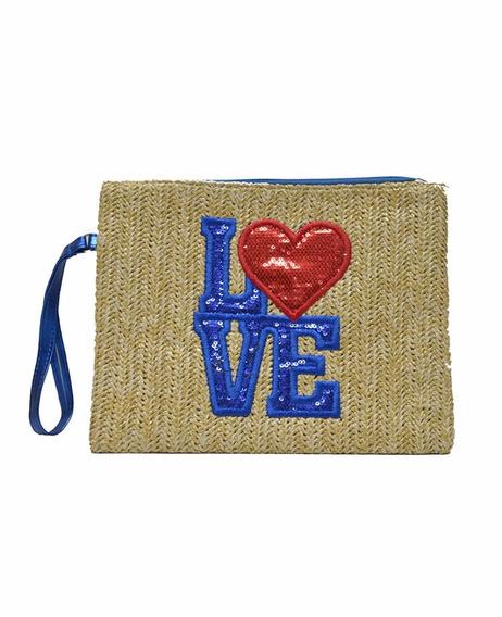 Sobre Love Corazon Playa Portacosmetico Tejido Bordado Barak