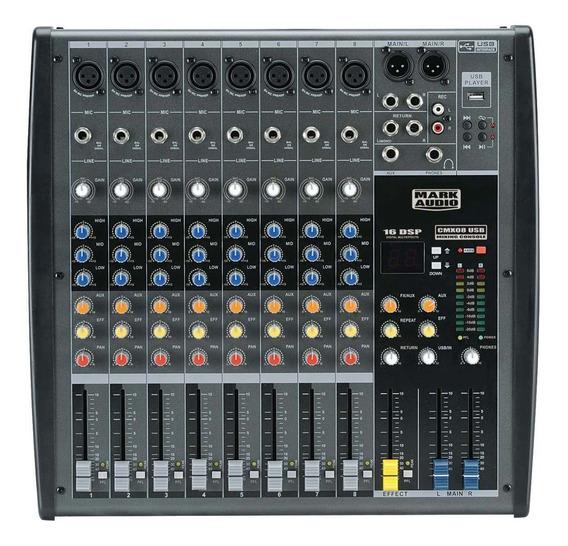 Mesa Som 8 Canais Mark Áudio Cmx 08 Usb Efeitos Voz