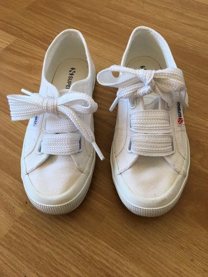 Zapatillas Superga, Blancas, Mujer. Usadas Impecables. T: 36