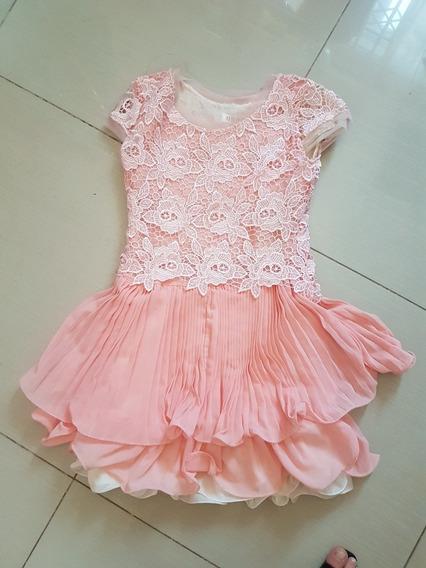 Vestido Festa Adolescente 12 A 15 Anos Rosa Creme Curto P
