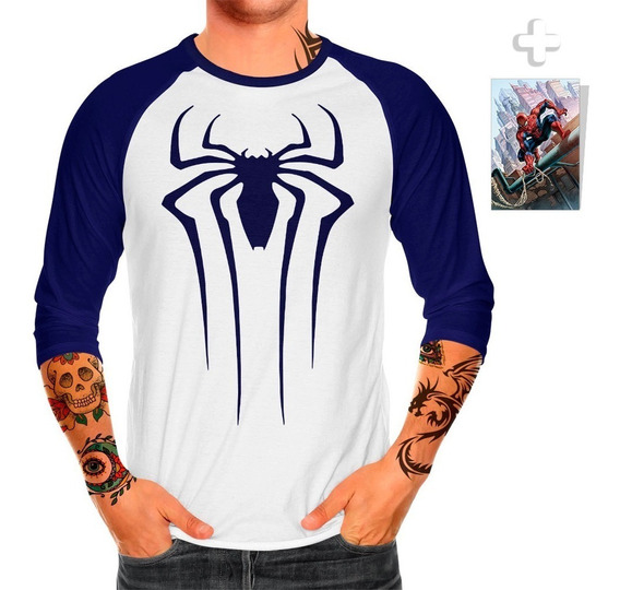 Envío Gratis Playera Raglan Caballero Spiderman + Sticker