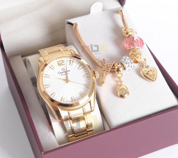 Relógio Champion Feminino Dourado Cn29865s + Kit Berloques