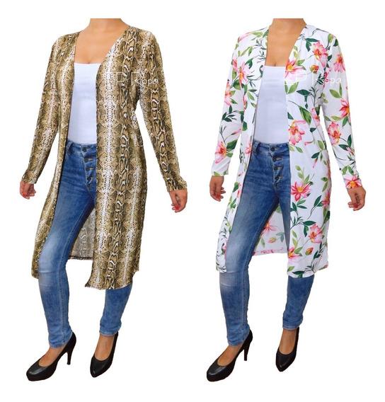 Sobretodo Kimono Largo Ajustado Cardigan Flores Mujer Moda