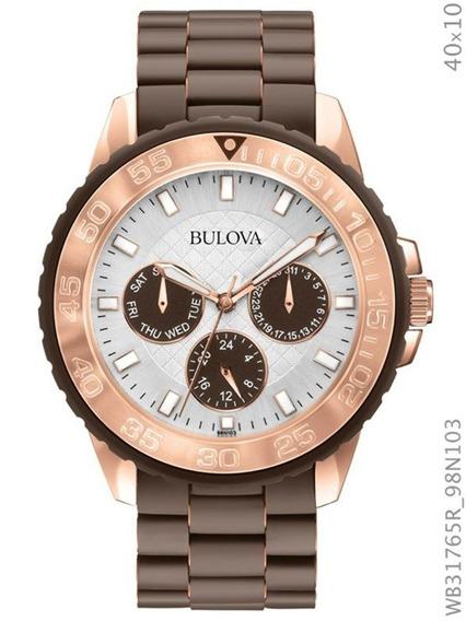 Relógio Bulova Feminino Marrom E Rosé Wb31765r