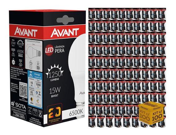 Kit 100 Lâmpadas Led Bulbo 15w Luz Branca Fria Avant