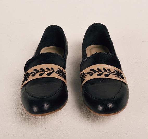 Zapatos Tipo Flat 100%piel Bordado A Mano