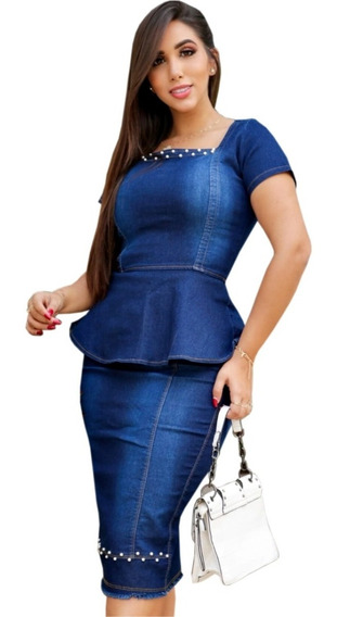 Conjunto Feminino Moda Evangélica Jeans Lycra Perolas Nancy