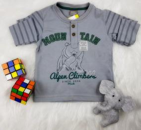 Camiseta Brandili Manga Longa Baby Menino Cinza