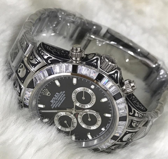 Relógio Rolex Daytona Prata E Preto +caixa + Manual