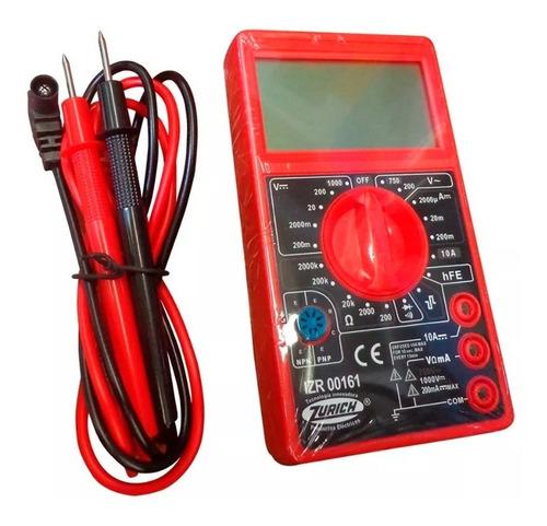 Multímetro Digital Con Buzzer Zurich Tester Ac Dc Diodo