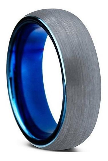 Aliança De Tungstenio Tradicional Escovada Prata Azul 8mm Rá