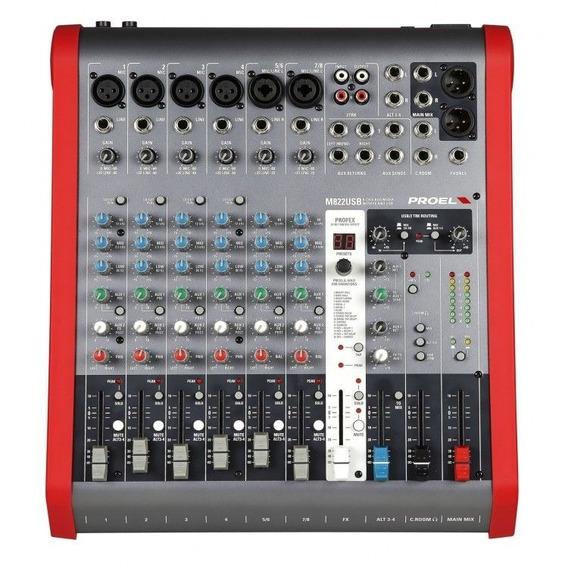 Mixer Analógico - 08 Canais - C/ Multiefeito E Usb - M822usb