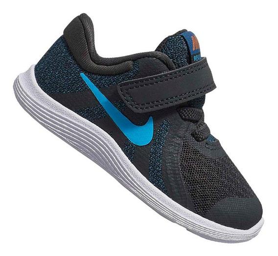Tênis Nike Infantil Revolution 4 Tdv Cinza E Azul 943304016