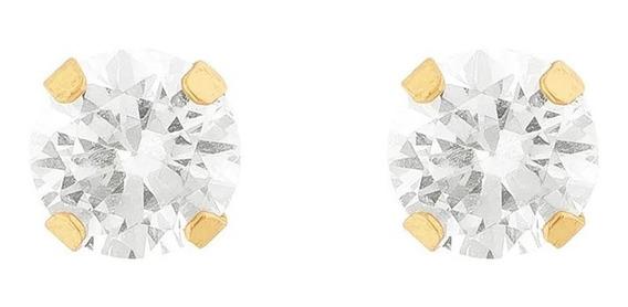 Brincos Ponto De Luz Pedra Branca Zircônia 4mm Joia Ouro 18k