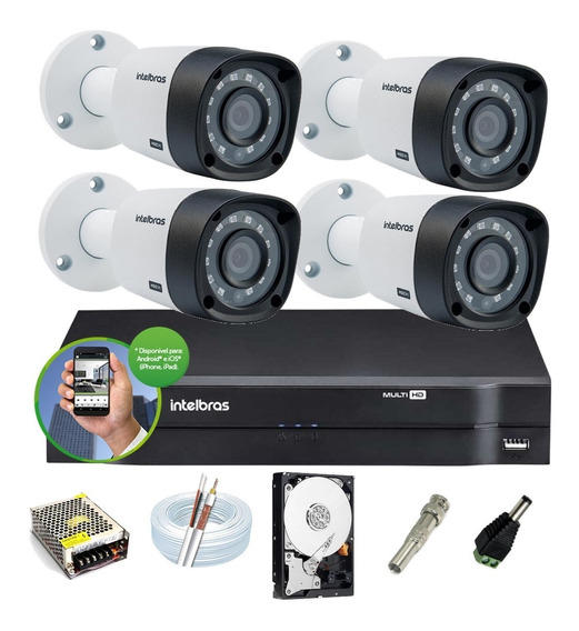 Kit Intelbras 4 Cam 1120b G4 Ir 20m Dvr 4 Mhdx 1104 Hd 500g