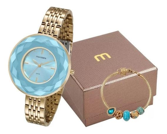 Relógio Mondaine Feminino Dourado 99054lpmvde7 + Semijoia