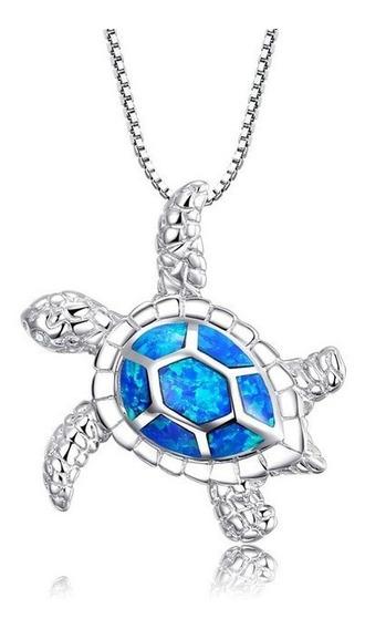 Collar Tortuga Ópalo Azul Plata 925 Exclusivo N-329 F