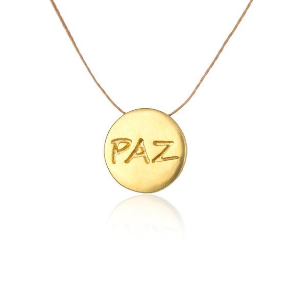 Paz Medalha Banhado A Ouro