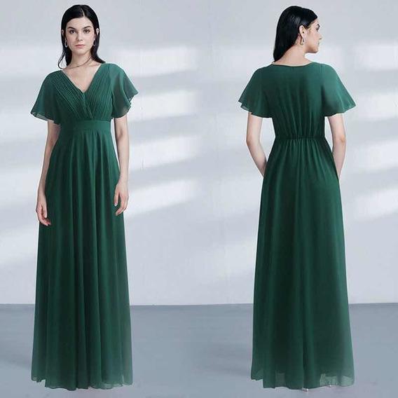 Elegante Vestido Fiesta Largo Verde Gasa Importado