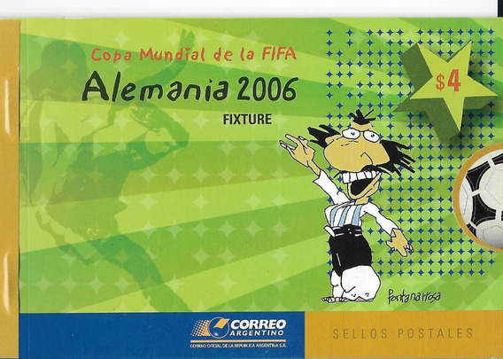 Estampillas 2006 Mundial Alemania Carnet Fontanarrosa Mint