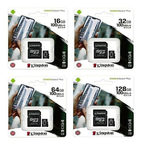 Micro Sd Kingston Clase 10 100mb/s 16gb/32gb/64gb/128gb Fhd