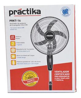 Ventilador 16 Práctika Negro Pedestal De Velocidades