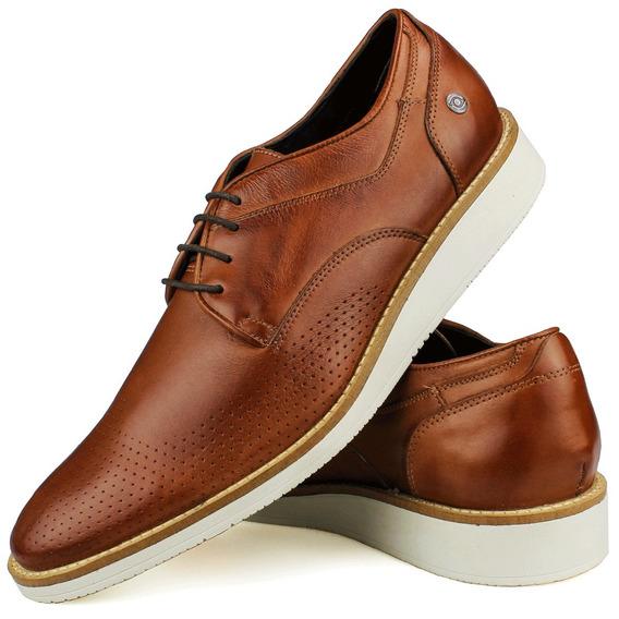 Sapato Casual Oxford Couro Amarração Derby Preto Perlatto