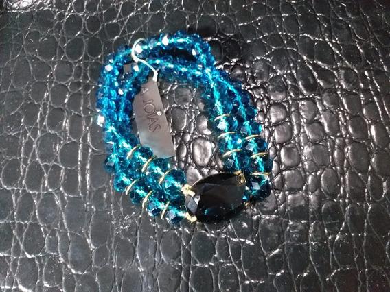 Pulseira Grande Azul Com Cristais De Vidro E Elastico