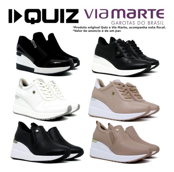 Tênis Feminino Plataforma E Anabela Sneakers Flatform Quiz 67-37923 Preto Original Nota Fiscal Loja Astralshoes