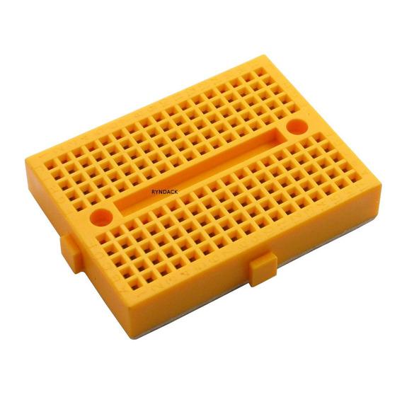 4 Peças * Mini Protoboard 170 Furos Amarelo Com Adesivo