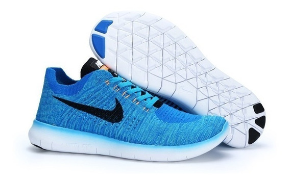 Tenis Nike Free Rn Flyknit Masc Azul Claro Original 2bros