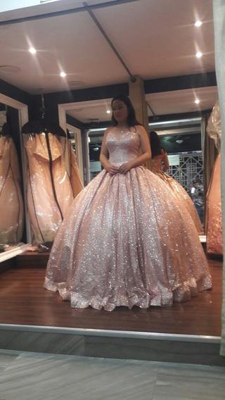 Vestido De Xv Años Rosa Goldent Muy Bonito