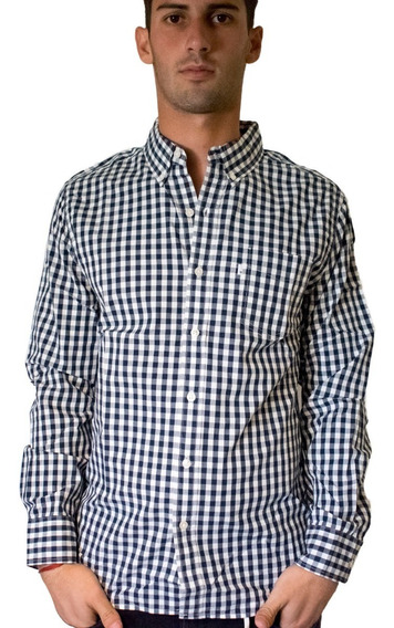 Camisa Hombre Classic One Pocket Slim Fit Cuadros Azul