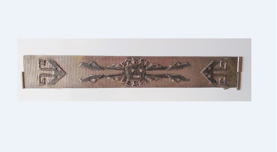 Bracelete Em Malha De Prata 925 Com Símbolos Inca, Marcada E