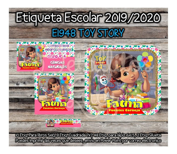 Kit Imprimible Etiqueta Escolar E1948 Toy Story Bonnie