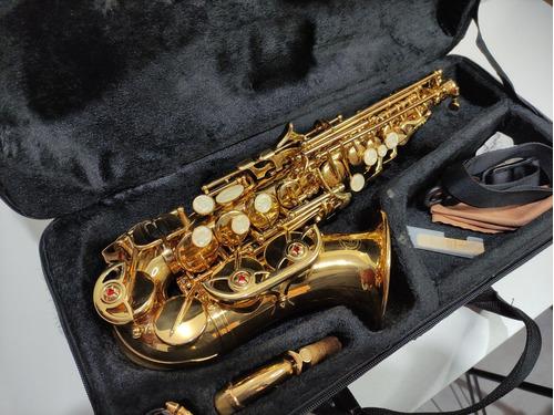 Saxofone Dolphin Sib Soprano Curvo Dourado Completo