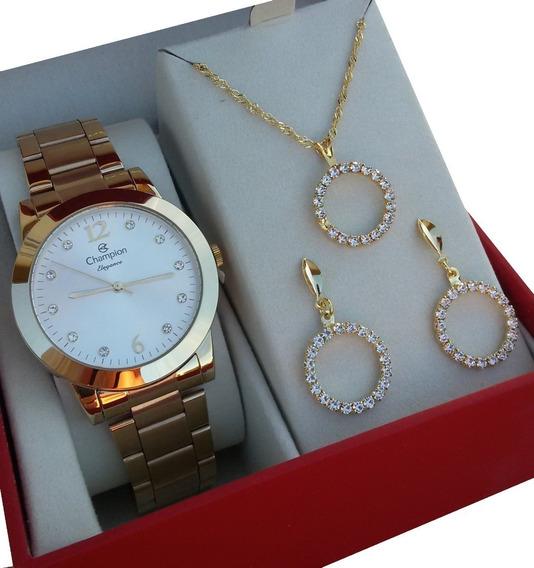 Relógio Feminino Champion Passion Dourado Cn26788w + Kit