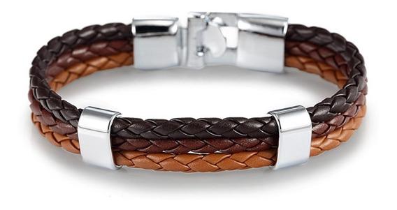 Pulseira Bracelete Masculina Couro Aço Inox Marrom P105a