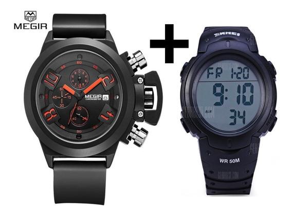 Relógio Militar Masculino Megir 2002 + Skmei 1068 Com Caixa