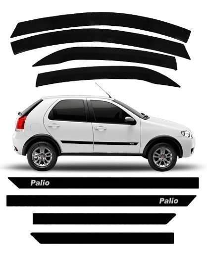 Kit Friso Borrachão Fiat Palio Fire + Calha De Chuva