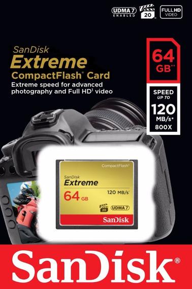 Cartão Sandisk Extreme Compactflash Cf 64gb 120mbs Lacrado